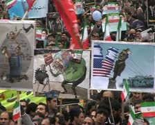 Iranian people celebrate  30th Anniversary  of Islamic revolution. 6 Stock Footage