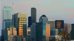 Seattle cityscape at sunset - time lapse - 1080p HD Stock Footage