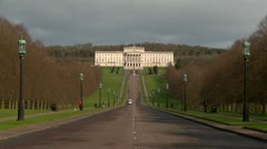 Belfast Stormont Parliament Buldings extreme Wide Shot Stock Footage