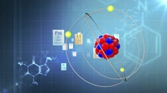 Atom model with elements of Periodic table and chemical formulas Stock Footage