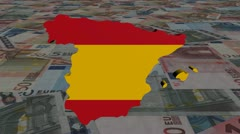 Spain map flag with scrolling Euros animation Stock Footage
