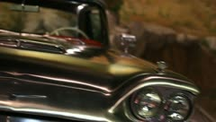 Slide classic car thunderbird stainless steel Stock Footage