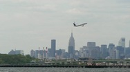 United Airlines Airplane take off leaving LaGuardia Airport New York City Stock Footage