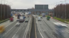 Fast Flowing Motorway Traffic time lapse - stock footage