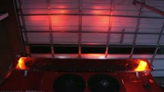 emergency fire truck light bar flashing lights red garage door open station red - stock footage