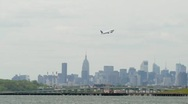 Airplane take off leaving LaGuardia Airport New York City Stock Footage