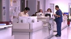 ICU staff at work station Stock Footage