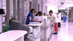 Nurse Station Activity Stock Footage