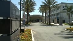 Hospital Entrance Pan Shot Stock Footage