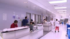 Busy Hospital Hallway Stock Footage