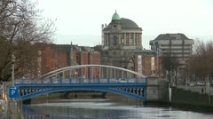 Dublin River and Bridges Stock Footage
