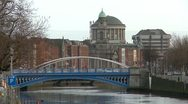 Stock Video Footage of Dublin River and Bridges