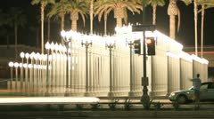 Night Timelapse Lamps at Lacma on Wilshire - stock footage