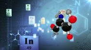 Molecular Structure with elements of Periodic table and chemical formulas Stock Footage