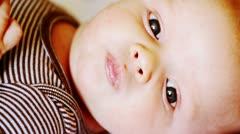 Newborn Baby Closeup of Face Stock Footage