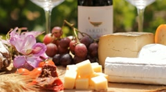 wine Blue cheese gouda bread grape food parmesan swiss dairy healthy france milk - stock footage