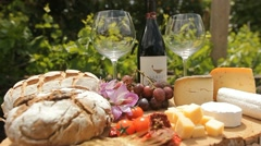 Wine Blue cheese gouda bread grape food parmesan swiss dairy healthy france milk Stock Footage