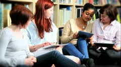Young female studying knowledge on internet   - stock footage