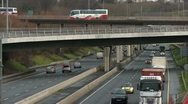 Stock Video Footage of Motorway Flyover Traffic, M50, Dublin
