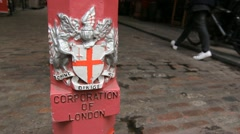 Corporation of London bollard. Stock Footage