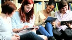 Young female study IT technology in university   Stock Footage