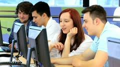 Group of multi ethnic students focus on career  Stock Footage