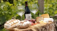 Wine Blue cheese gouda bread grape food parmesan swiss dairy healthy france milk Stock Footage