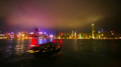 Tourist junk in Victoria Harbor. Hong Kong. Timelapse - stock footage