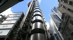Lloyds building in London. Elevator goes up. Stock Footage