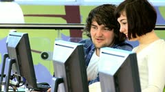 Social networking university classmates in IT class  - stock footage