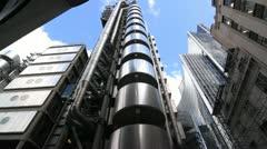 Lloyds building in London. Timelapse shot. - stock footage