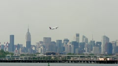 Delta Airline Airplane leaving nyc take off LaGuardia New York City - stock footage
