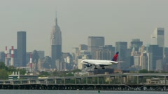 Delta Airlines LaGuardia Airport New York City arrival touch down 24p Stock Footage
