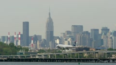 US Airways Airplane arrival touch down New York City LaGuardia Airport 24p - stock footage