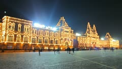 The Red Square in Moscow. evening-night time-lapse Stock Footage