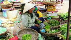 Woman in the Vietnam market Stock Footage