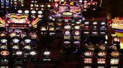 Resort casino slot machines flashing night P HD 9871 Stock Footage