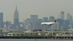 Delta Airlines arrival New York City LaGuardia Airport touch down Stock Footage