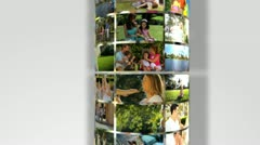 3D Montage Outdoor Images Caucasian Families - stock footage