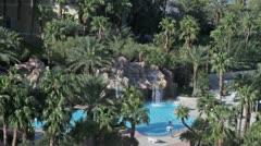 Swimming pool tropical Las Vegas resort waterfall P HD 9748 Stock Footage
