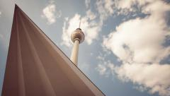 Berlin Television Tower (Fernsehturm) in 1080p Timelapse with cloud dynamic Stock Footage