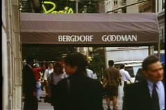 Bergdorf Goodman canopy, on 58th and Fifth Avenue in New York City Stock Footage