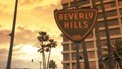 Stock Video Footage of Beverly Hills Sign Timelapse at beautiful sunset or sunrise