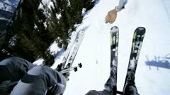 Skiers riding ski lift Stock Footage