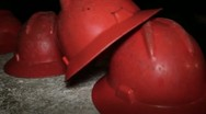 Stock Video Footage of Helmets of miners