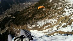 Paragliding high above Chamonix Stock Footage