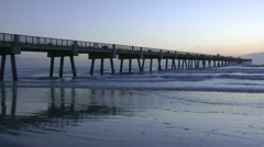 Fishing Pier at Beach Stock Footage