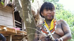 Embera Indian Woman Stock Footage