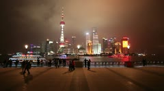 Pudong cityscape by night, Shanghai, China Stock Footage