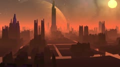 Fantastic (alien) city and huge planet Stock Footage